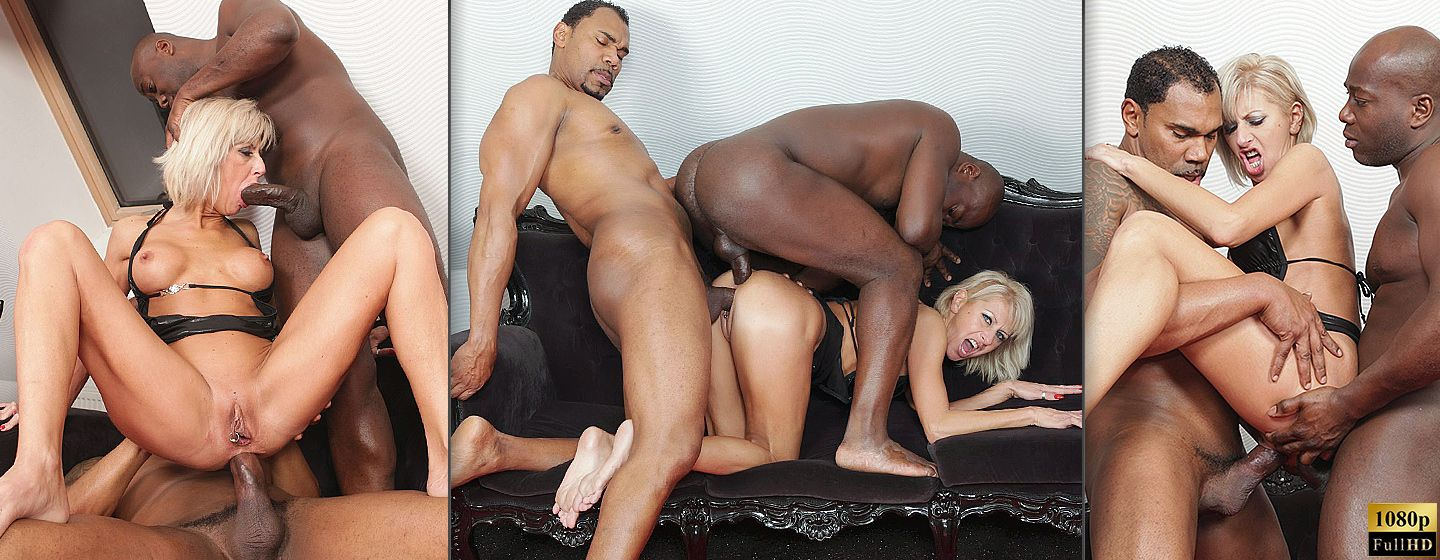 Blonde cougar interracial threesome fuck