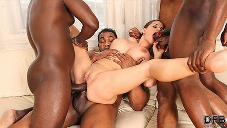 Interracial Gangbang Heaven with Cathy