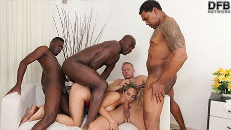 Hot milf in rough gangbang