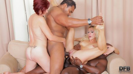 Two hot matures fuck black guys