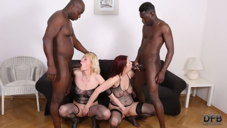 Group interracial sex in mature porn