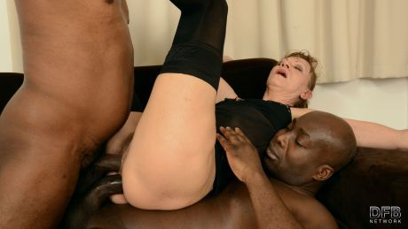Granny in hot interracial threesome