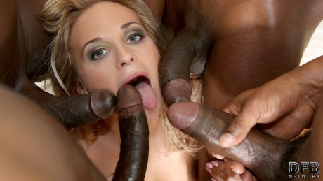 A Blonde's Interracial Gangbang Fantasy